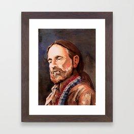 Willie Nelson Acrylic Painting Framed Art Print