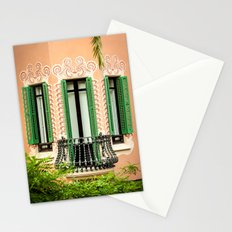 3 green windows Stationery Cards