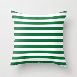 Stripes (Dark Green & White Pattern) Throw Pillow