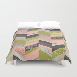 Chevron with Textures / Rose and Green Duvet Cover