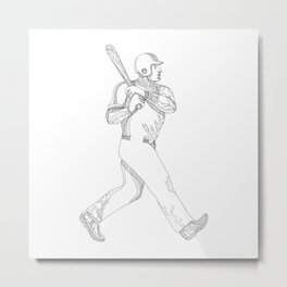 Baseball Player Batting Doodle Metal Print