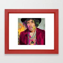 Jimi Hendrix Illustration Framed Art Print