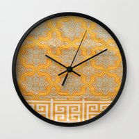 orange pattern Wall Clocks featuring OrangE paTTern by ''CVogiatzi.