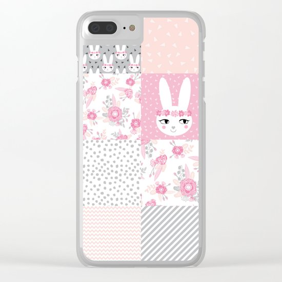 Bunny quilt baby decor newborn nursery charlotte winter pink grey decor for little girl Clear iPhone Case