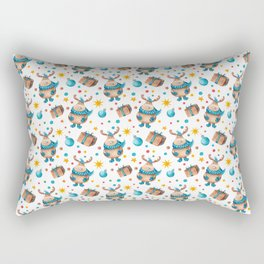 Winter pattern with little moose Rectangular Pillow