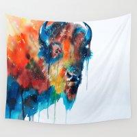 bison Wall Tapestries featuring Bison by Slaveika Aladjova