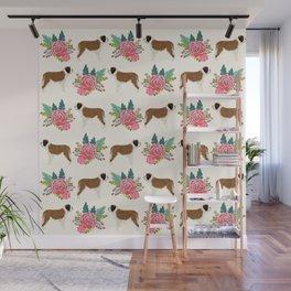 Saint Bernard florals dog breed floral bouquet dog pattern minimal pet friendly Wall Mural