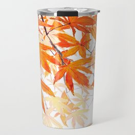 orange maple leaves watercolor Travel Mug