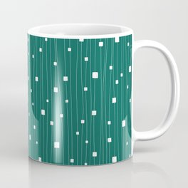Squares and Vertical Stripes - Green and White - Hanging Coffee Mug