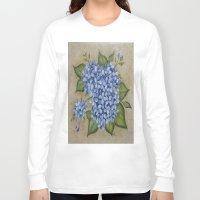 hydrangea Long Sleeve T-shirts featuring HYDRANGEA by TRISHSINDOORGARDEN