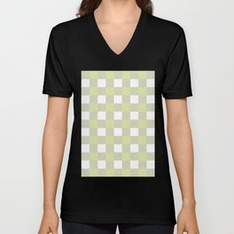 Gingham (Vanilla/White) Unisex V-Neck