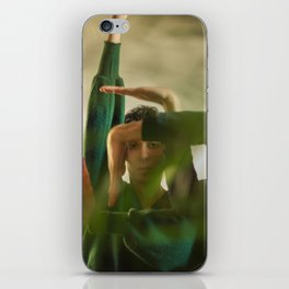 Woman face with hands, geometry iPhone Skin