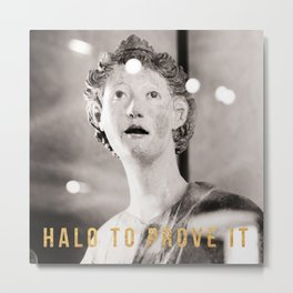 Halo To Prove It Travel Photography In The Louvre With Snark in Gold Foil Typography Metal Print