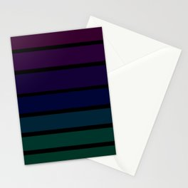 70s Style Dark Colored Stripes - Purple Blue Green Stationery Cards