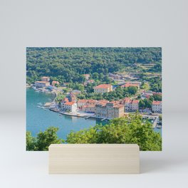 Aerial panoramic view to the seaport and old town in Istra, Croatia Mini Art Print