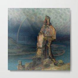 Ruins of Dürnstein Castle on the Danube with rainbow landscape painting by Emilie Mediz-Pelikan Metal Print