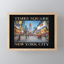 Times Square Sparkle (with type on black) Framed Mini Art Print