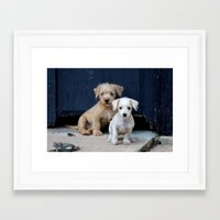 puppies Framed Art Prints featuring Puppies by Rafael Andres Badell Grau
