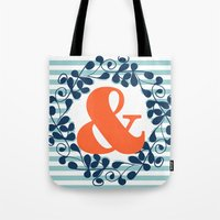 ampersand Tote Bags featuring ampersand by ArigigiPixel