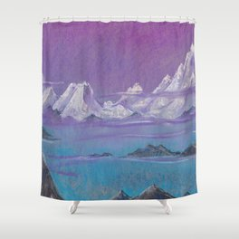 Himalayas. Pink mountains. Сopy of the painting of Roerich. Shower Curtain