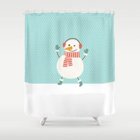snowman Shower Curtains featuring Snowman by Mr and Mrs Quirynen