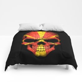 Dark Skull with Flag of Macedonia Comforters