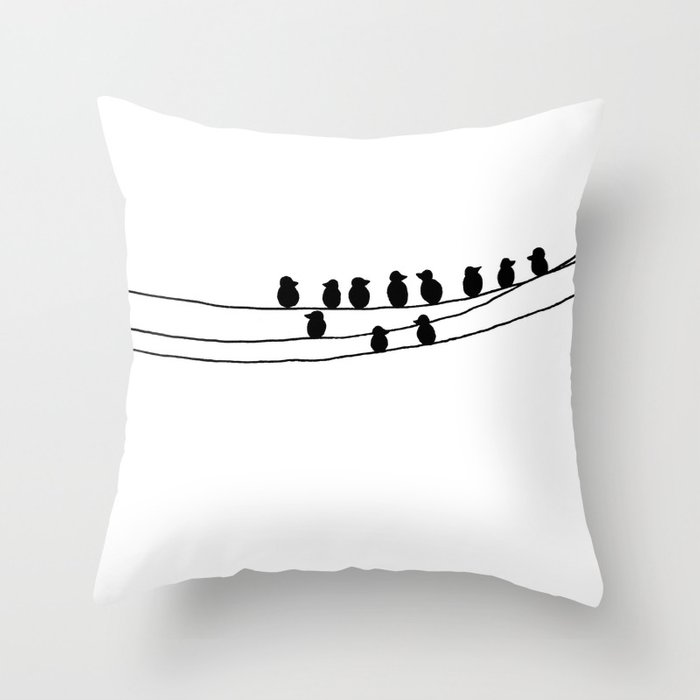 Drawing of Birds on Wires by Emma Freeman Designs Throw Pillow