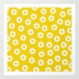 Daisies - Yellow BG Art Print