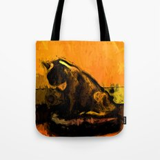 Cat and a Gold Wall Tote Bag