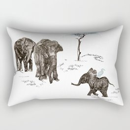 Elephants Family Rectangular Pillow