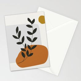 Mid Century Abstract - Sun and Leaves Stationery Cards