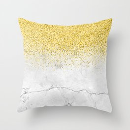Gold Glitter and Grey Marble texture Throw Pillow
