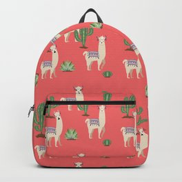 Llama with Cacti Backpack