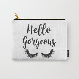 Hello Gorgeous, Lashes, Lash, eyelash, eyelashes, Black & white, Black, Watercolor Carry-All Pouch