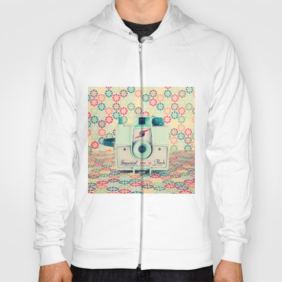 Film Mint Camera on a Colourful Retro Background  Hoody