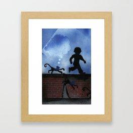 Boy and Monkey on Wall St. Framed Art Print