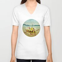 yellow submarine V-neck T-shirts featuring yellow submarine in an octapuses garden by Vin Zzep