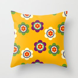 Mexican Colorful Flowers Throw Pillow