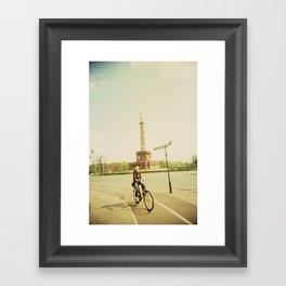Woman on Bicycle in Berlin Framed Art Print