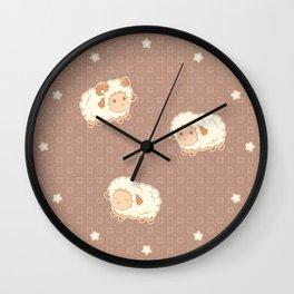 Cute Little Sheep on Brown Wall Clock