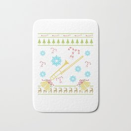 Trombone Christmas Ugly Sweater School Band Shirt Bath Mat