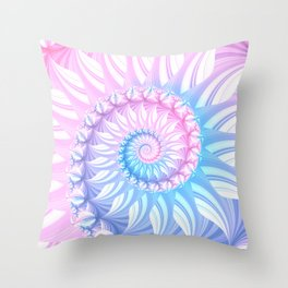 Striped Pastel Spiral in Pink, Blue and Purple Throw Pillow