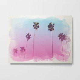 Palm Trees Watercolor Style Print, Digital, California Print, Beach Wall Decor Metal Print