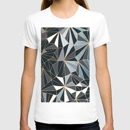 Stylish Art Deco Geometric Pattern - Black, blue, Gold #abstract #pattern T-shirt