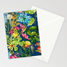 Watercolor flower garden with hummingbird Stationery Cards