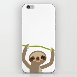 funny and cute smiling Three-toed sloth on green branch 2 iPhone Skin
