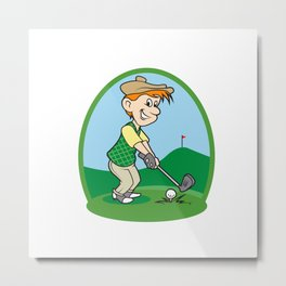 boy cartoon golf player Metal Print