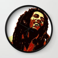 reggae Wall Clocks featuring the god of reggae by  Agostino Lo Coco