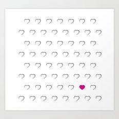 Hearts - Pink Art Print