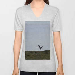 Osprey In Flight on the Ocean Unisex V-Neck